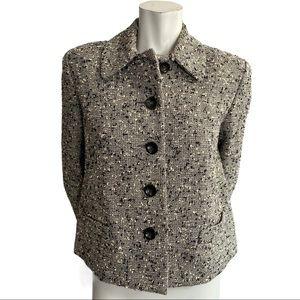 Lida Baday Black/White/Grey Wool Blend Blazer 8